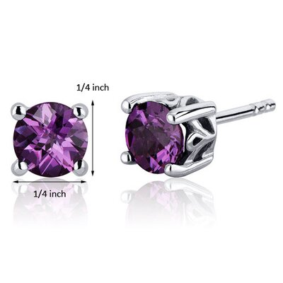 Oravo Scroll Design 2.50 Carats Alexandrite Round Cut Stud Earrings in Sterling Silver