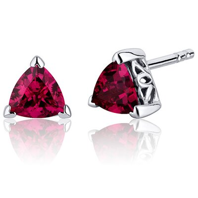 Oravo 2.00 Carats Ruby Trillion Cut V Prong Stud Earrings in Sterling Silver