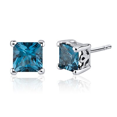 2.50 Carats London Blue Topaz Princess Cut Scroll Design Stud Earrings in Sterling Silver