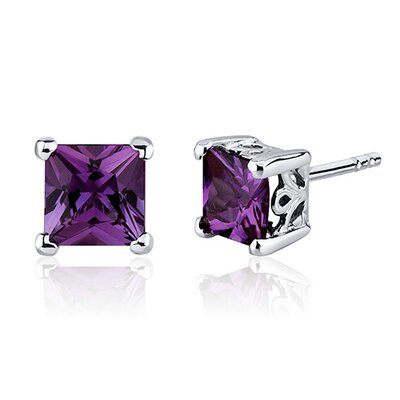 Gemstone Princess Cut Scroll Design Stud Earrings in Sterling Silver