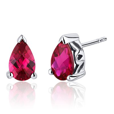 Oravo 2.00 Carats Ruby Pear Shape Basket Style Stud Earrings in Sterling Silver