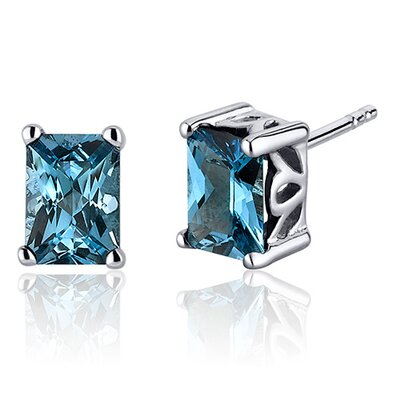 Radiant Cut 2.00 Carats London Blue Topaz Stud Earrings in Sterling Silver