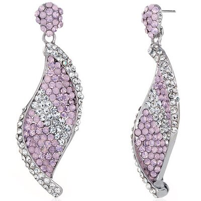 Shimmering Twist Pink Opal and Clear Dangle Earrings with Swarovski Elements