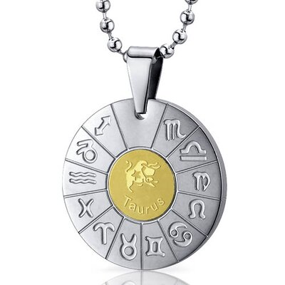 Taurus Bull Sign Zodiac Symbol Stainless Steel Circle Pendant Necklace