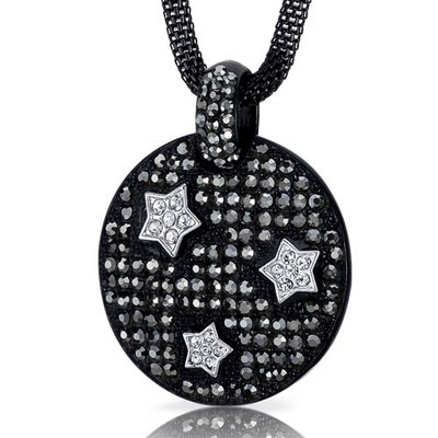 Twinkling Super Star Hematite and Clear Swarovski Crystal Circle Pendant Necklace