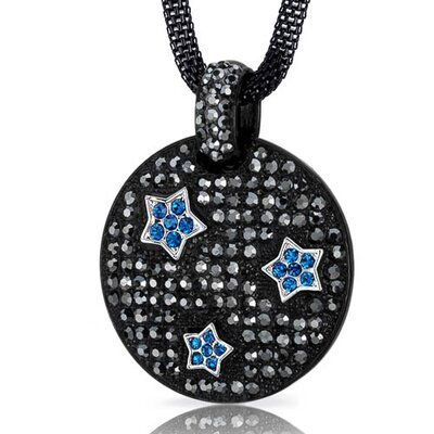 Twinkling Super Star Hematite and Capri Blue Swarovski Crystal Circle Pendant Necklace