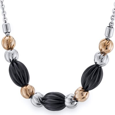 Black Gold Tone Corrugated Bead Stainless Steel Necklace