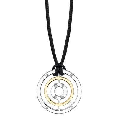Oravo Vision of Elegance Surgical Stainless Steel High Polished Circle Pendant with Gold Finish and CZ Accents