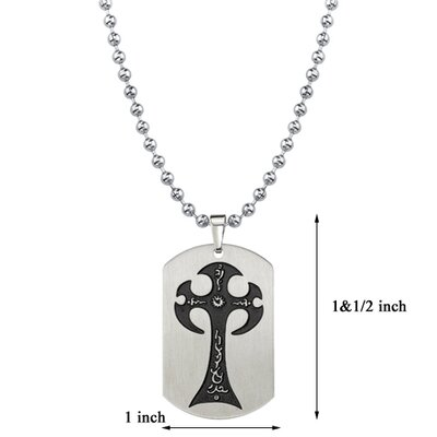 Oravo Gothic Elegance Surgical Stainless Steel Brushed Finish Gothic Cross Tattoo Style Dog Tag Pendant on a Steel Ball Chain