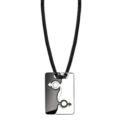 Oravo Shared Elegance Surgical Stainless Steel Black Enamel and Chrome Finish Male Mars Symbol Puzzle Pendant on a Black Cord