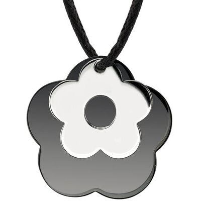 Floral Power Surgical Stainless Steel with Black Enamel and Chrome Finish Flower Pendant on a ...