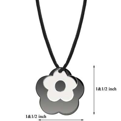 Oravo Floral Power Surgical Stainless Steel with Black Enamel and Chrome Finish Flower Pendant on a Black Cord