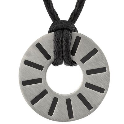 Debonair Style Disc Pendant for Men on a Black in Titanium with a Brushed Finish ...