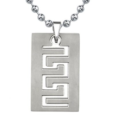 Strong and Distinctive Titanium Brushed Finish Greek Key Dog Tag Pendant for Men on a ...