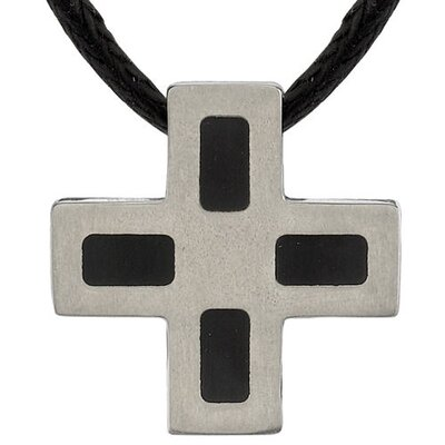 Faithful Fashion Titanium Brushed Finish and Black Rubber-inlay Square Cross Pendant on a Black ...