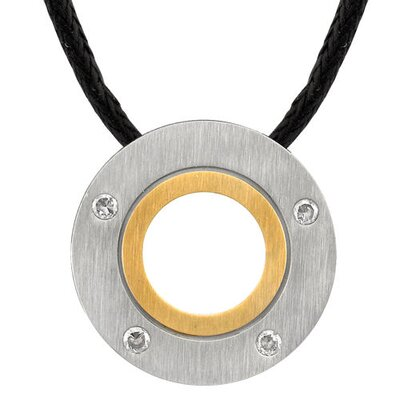 Distinguished and Trendy Designer Inspired Titanium Dual-tone Brushed Finish Disc Pendant on a ...
