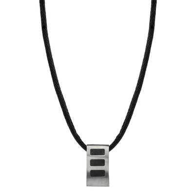 Oravo Fashion Savvy Designer Inspired Rectangular Titanium Brushed Finish and Rubber-inlay Pendant on a Black Cord for Men