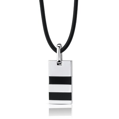 Oravo Signature of Style Stainless Steel Rectangular Pendant with Onyx-inlay on a Rubber Cord for Men