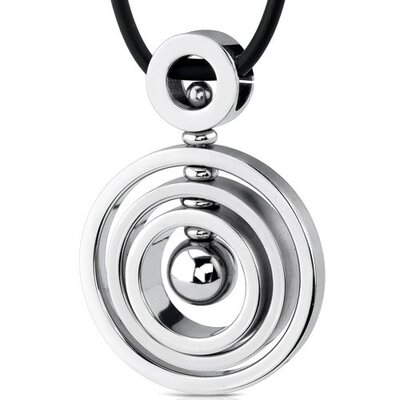 Oravo Circle of Style Stainless Steel Concentric Circle Pendant with Bead-inlay worn on a Rubber Cord for Men