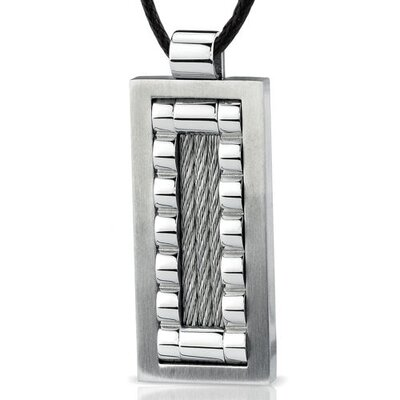 Stainless Steel Cable design Brush finish Fancy Dog Tag Pendant with Adjustable Black Cord