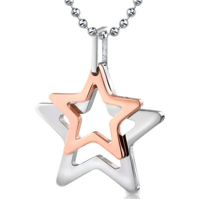 Stainless Steel Double Star Rose Gold Color Pendant on a Stainless Steel Ball Chain