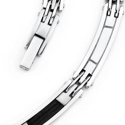 Oravo Celebrity Style Twisted Black Cable Mens Stainless Steel Necklace