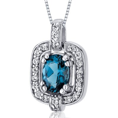 Dazzling Opulence 0.75 Carats Oval Cut London Blue Topaz Pendant in Sterling Silver