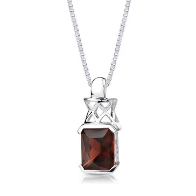 Oravo 5.25Ct Radiant Cut Garnet Pendant in Sterling Silver