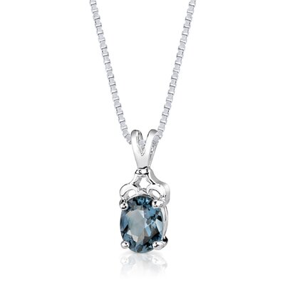 Oravo 2.25 cts Oval Cut London Blue Topaz Pendant in Sterling Silver