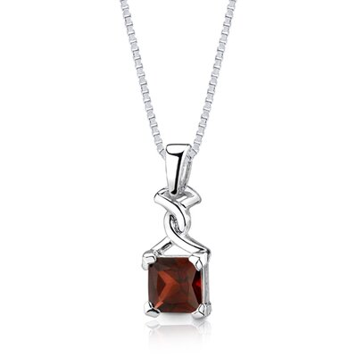 Oravo 3.00Ct Princess Cut Garnet Pendant in Sterling Silver