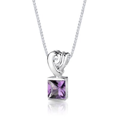 Oravo 2.25 cts Princess Cut Amethyst Pendant in Sterling Silver