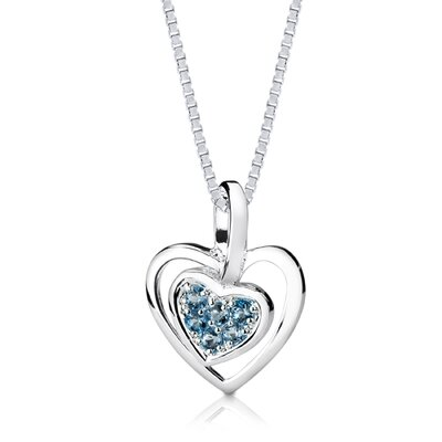 Oravo 0.50ct Round Cut London Blue Topaz Heart Pendant in Sterling Silver