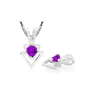 Oravo Trillion Cut Amethyst Pendant in Sterling Silver