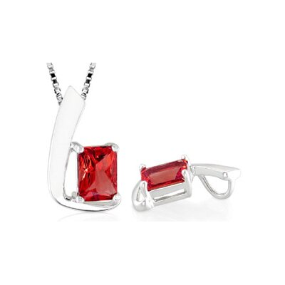 Radiant Cut Garnet Pendant in Sterling Silver