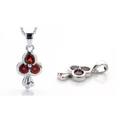 Round Cut Garnet Three-Stone Pendant in Sterling Silver