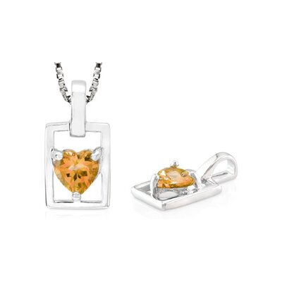 Oravo Heart Cut Citrine Pendant in Sterling Silver