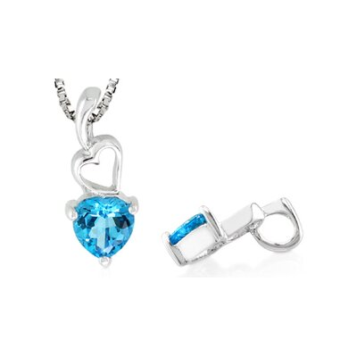 Heart Cut Genuine Swiss Blue Topaz Pendant in Sterling Silver