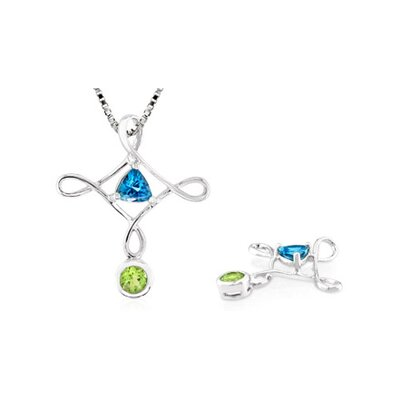 Multicut London Blue Topaz Peridot Pendant in Sterling Silver