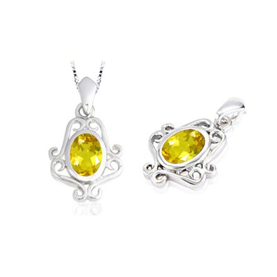 Oval Cut Citrine Pendant in Sterling Silver