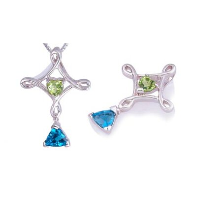 Oravo Heart & Trillion Cut Peridot & London Blue Topaz CROSS style Pendant in Sterling Silver