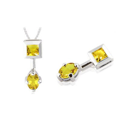 Princess & Oval Cut Citrine Pendant in Sterling Silver