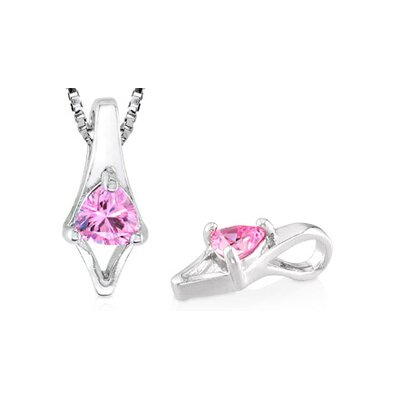 Trillion Cut Pink CZ Pendant in Sterling Silver