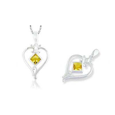 Princess Cut Citrine Heart Pendant in Sterling Silver