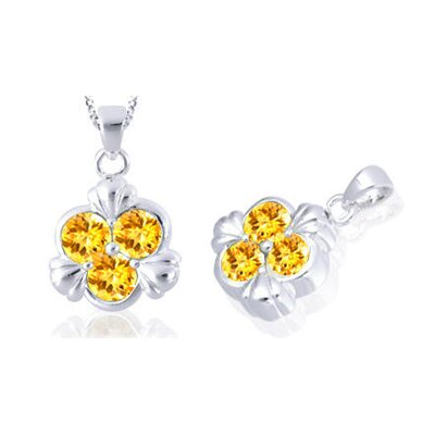 Oravo Round Cut Citrine Three Stone Pendant in Sterling Silver