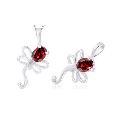 Oval Cut Garnet Dragonfly Pendant in Sterling Silver