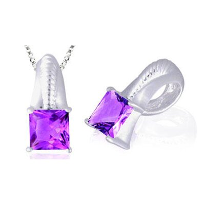 Princess Cut Amethyst Pendant in Sterling Silver