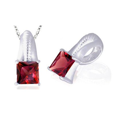 Oravo Princess Cut Garnet Pendant in Sterling Silver