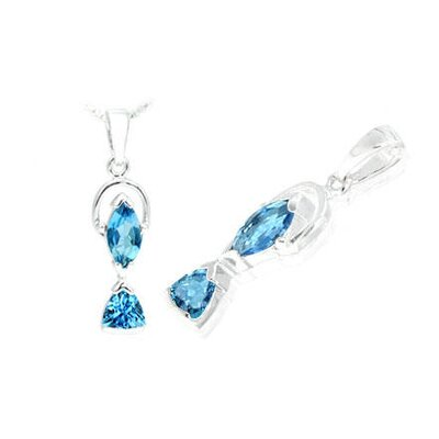 Marquise trillion Cut london Blue Topaz Pendant in Sterling Silver