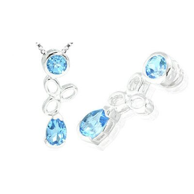 Pear & Round Cut Swiss Blue Topaz Pendant in Sterling Silver