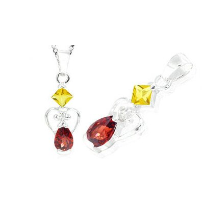 Princess Pear Cut Citrine Garnet Pendant in Sterling Silver